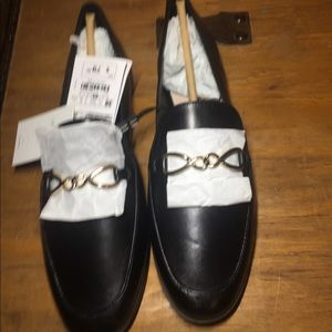 Zara black leather loafers -gold tone chain